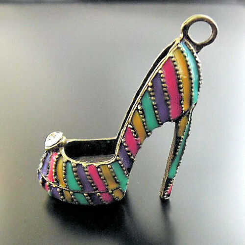 BC944 High Heel Shoe Bronze Tone Enamel Charm With Inset Rhinestone 3D