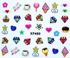 Accessoire ongles nail art , Stickers décalcomanie , motifs fun colorés