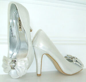 New Shimmer 5 8 Diamante 6 Shoes White Size Occasion 4 3 7 Ivory Bridal Silver qwzXxaE6