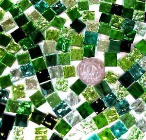 1cm x 1cm vitreous glass tiles for mosaics art and craft mix of greens
