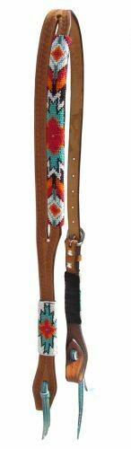 Showman TEAL RED orange WHITE Split Ear AZTEC BEADED silverina Leather HEADSTALL
