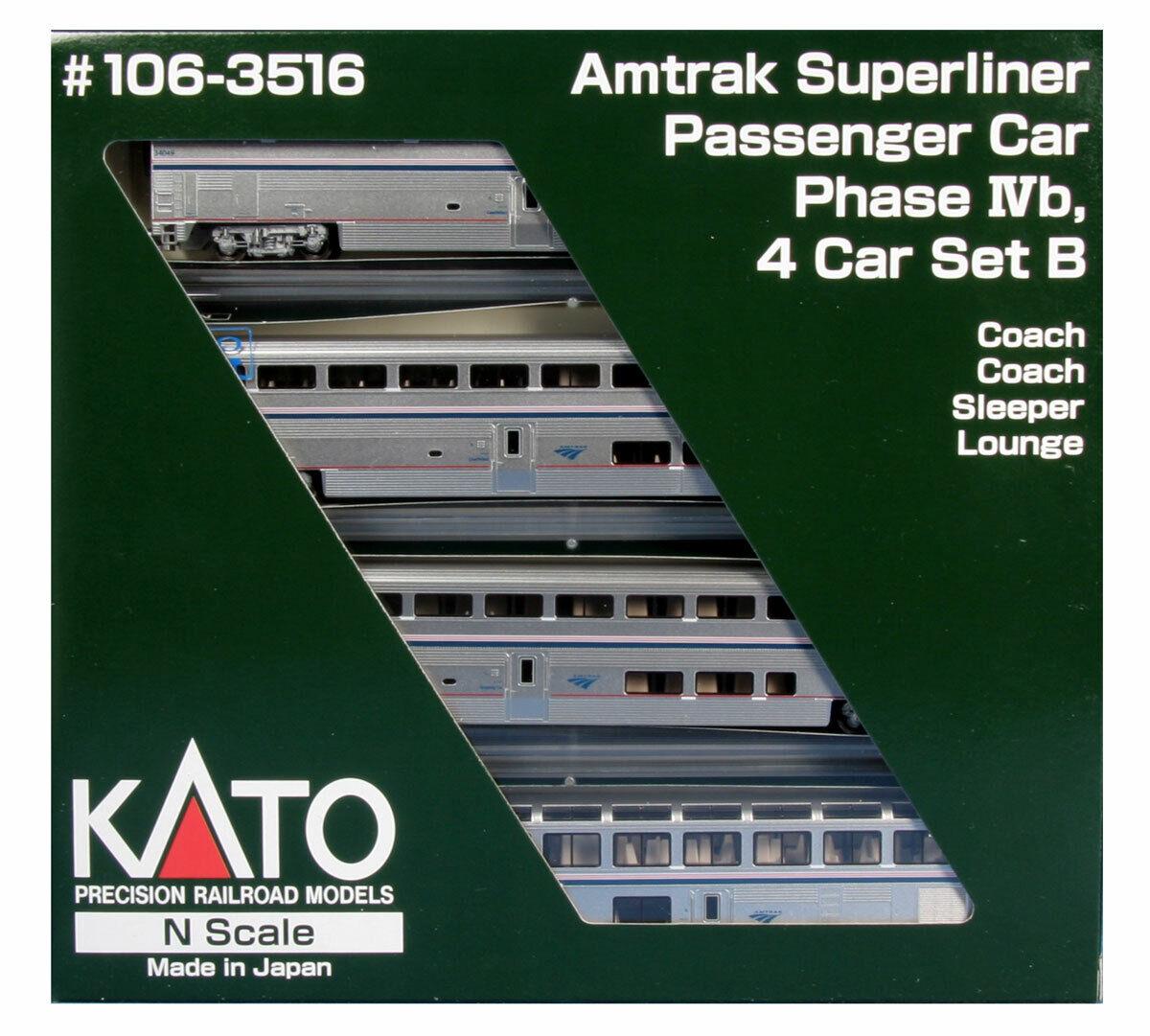 Kato N Scale 1063516 súperliner Amtrak Fase estadio 4-Coche Set B