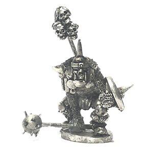 Orc-Champion-Morningstar-shield-28mm-Unpainted-Metal-Wargames