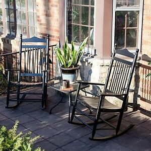 ... -Black-Wood-Patio-Rocking-Chair-Set-Outdoor-Home-Furniture-Deck-Porch