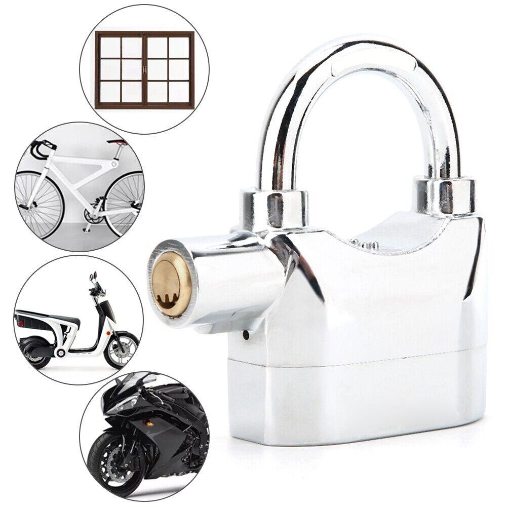 Siren Alarm Padlock Lock Waterproof for Motorcycle Bike Security with 110dB lock