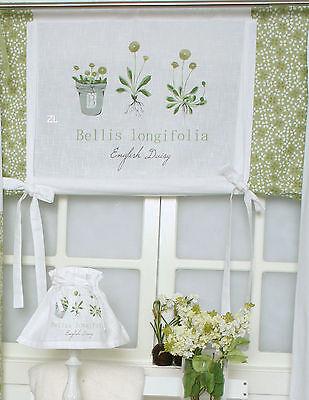 *FLOWER GRÜN*100/120/140 cm breit*Scheiben Rollo Gardine*Shabby*Curtain*Landhaus