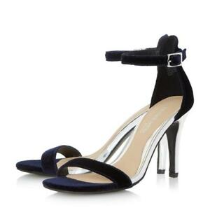 d5aade938df2 BNIB Dune Navy Silver Velvet High Heel Smart Strappy Evening Sandals ...