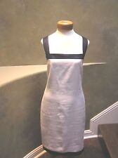 NWT Ralph Lauren LINEN Sleeveless shift summer dress White/navy blue 10
