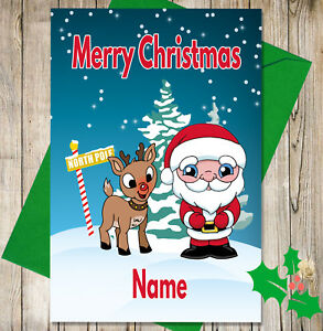 Children Christmas Cards.Details About Children S Personalised Christmas Card Santa And Rudolph Design Add Any Name