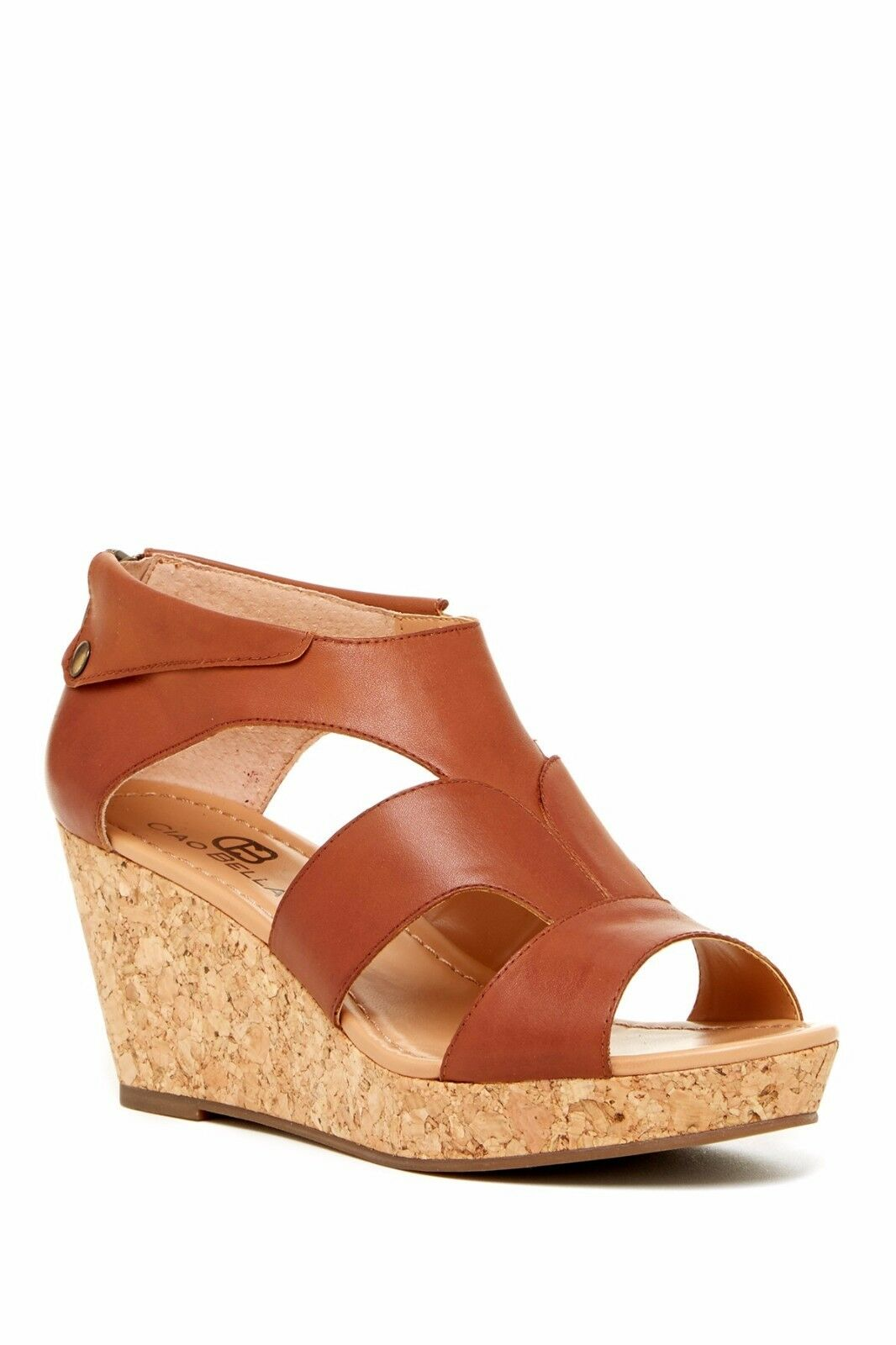 New Ciao Bella Lucy Cork Wedge Leather Sandals women size 8