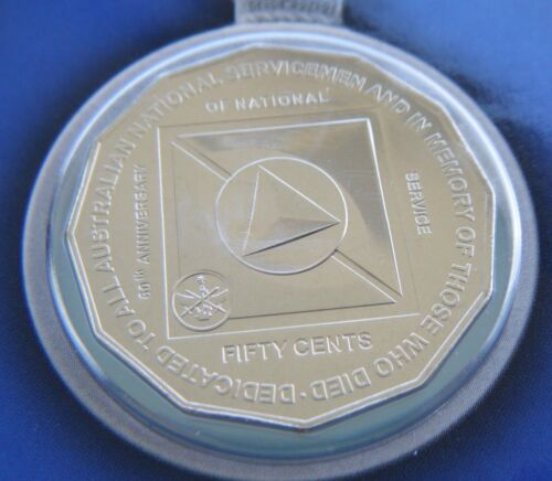 2011 UNC 50c Carded Coin 60th Anniversary of National Service