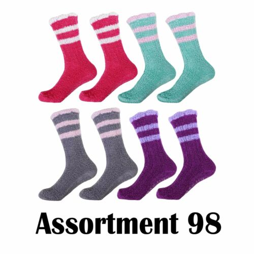 Women/'s Warm Fuzzy Cozy Comfy Bright Chenille Style Home Crew Socks 8 Pairs