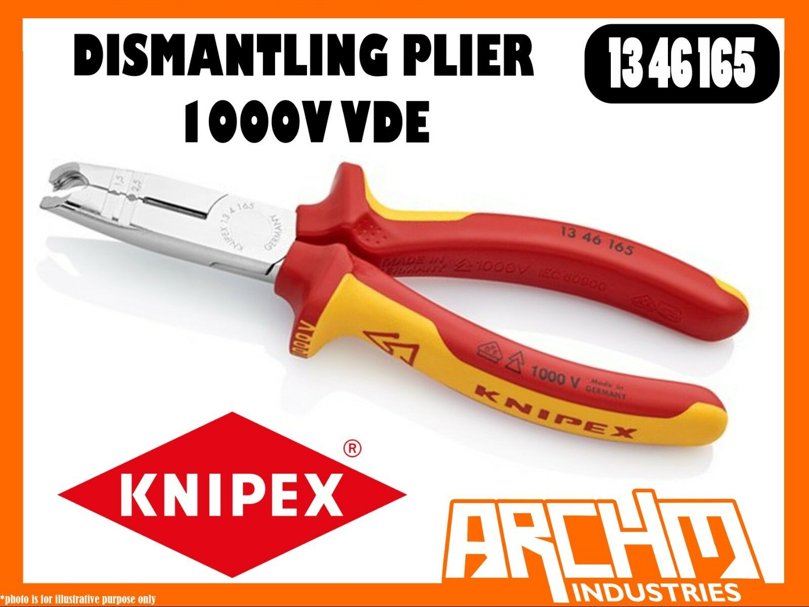KNIPEX 1346165 -  DISMANTLING PLIE 1000V VDE 165MM CIRCULAR CUTTING EDGE CABLES