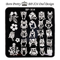 BORN PRETTY Nail Art Stamp Template Image Stamping Plates Owl 6*6cm BP-X14