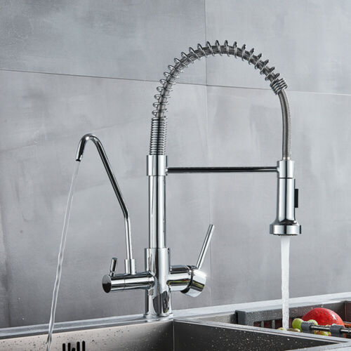Chrome 3 Way Pure Water Kitchen Double Handle Filter Drinking Water Mixer Tap