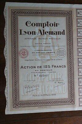 """Titre Au Porteur """" Comptoir-allemand - Paris 1933 """""""