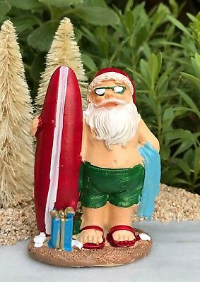 Beach Christmas Santa Sitting a Hammock Fairy Garden Mini