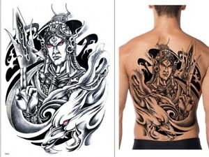 FULL LARGE BACK TEMPORARY TATTOO FOR ADULT MEN   WOMEN WARRIOR ... d7b6992b8