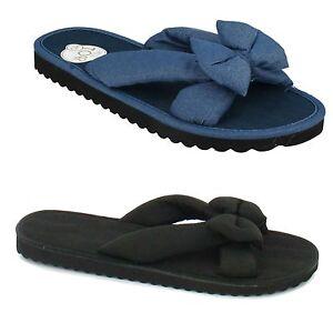0d975eacb LADIES DENIM BLUE BLACK SUMMER FABRIC SLIP ON FLIP FLOP SANDALS ...