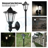 Lots LED SOLAR POWER WALL LANTERN LAMP SUN LIGHTS BLACK OUTDOOR MOUNT GARDEN