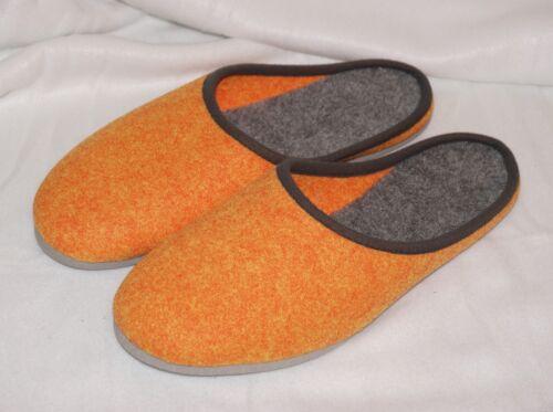 Hausschuhe ELSTER Filzpantoffeln Latschen orange mit Porosohle 36-49
