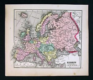 1857-Morse-Map-Europe-Spain-France-Italy-Germany-Austria-Sweden-Greece
