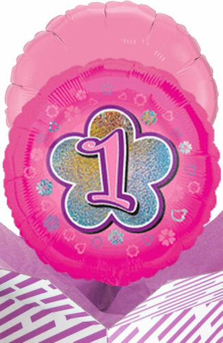 1st Birthday Pink Flowers Balloon in a Box Gift Delivered Personalised Message!