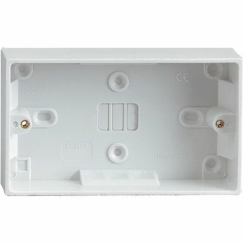 Double 2 Gang Plug Electric Socket /& Back Box Pattress 13A 2 USB Outlet Ports