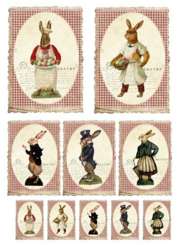 40049 Vintage-pascua-conejo-rabbit Stanzteile-kartenaufleger-scrapbooking-bricolaje