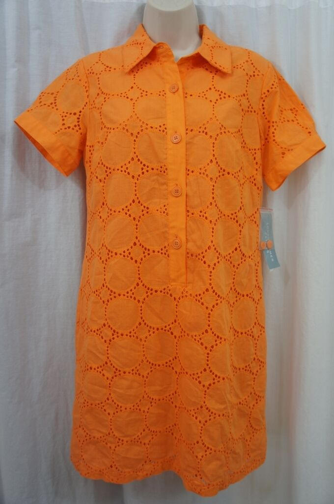 London Times Petite Dress Sz 10P Tangerine Short Sleeve Eyelet Cocktail Casual