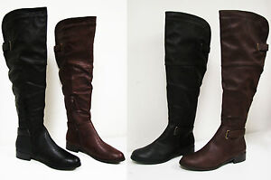 Women-039-s-Knee-High-Boots-Winter-Faux-Leather-Fur-Lined-Zipper-Thigh-Shoes-Sizes