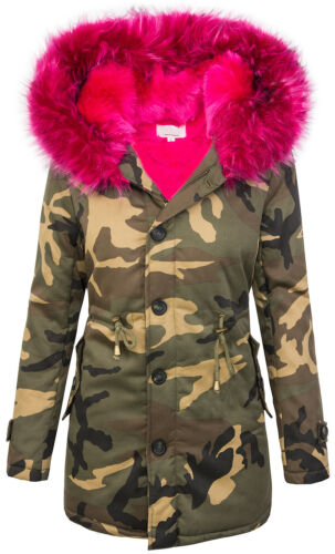 Giacca Donna Camouflage Parka foderati Inverno Giacca Army-look Cappuccio d-339 S-L