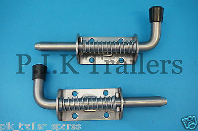 FREE P&P* 2 x Stainless Steel Spring Shoot Bolt - Small - Horsebox & Trailer
