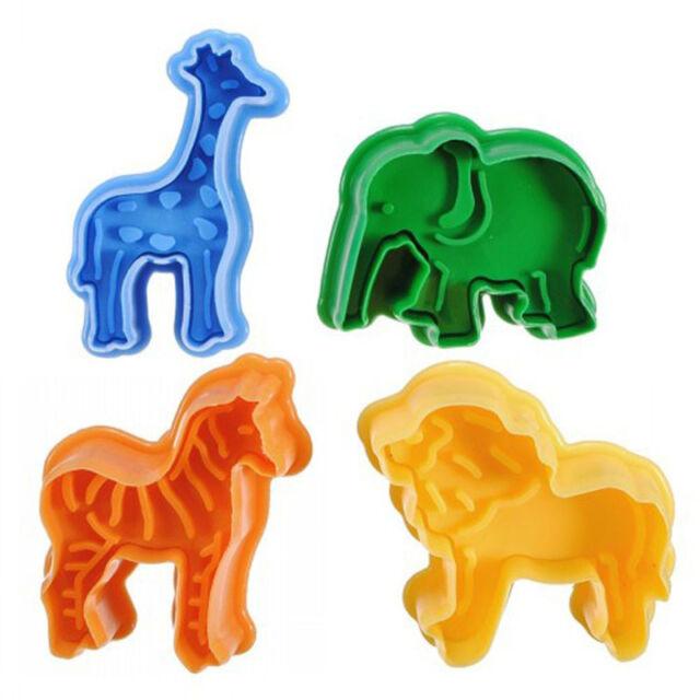 3D Animal Shape 4pcs Fondant Cake Cutter Cookie Mold Plunger Decorating Mould --