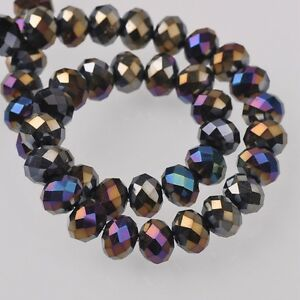 200pcs-6x4mm-Rondelle-Faceted-Crystal-Glass-Loose-Beads-Black-AB