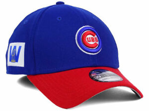 CHICAGO CUBS MLB WORLD SERIES W TROPHY NEW ERA 39THIRTY FLEX BLUE ... 83e775c62ec