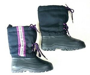 085db0e1655 Details about LaCrosse Kids Youth Insulated Lined Snow Rain Boots Winter  Black Purple Size 2
