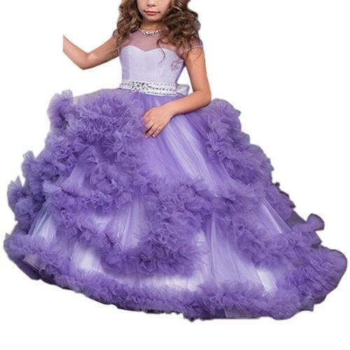 V-back Luxury Pageant Tulle Ball Gowns for Girls Flower Girl Dress