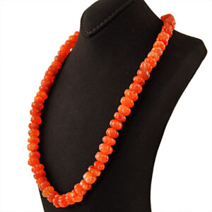 458-00-Cts-Natural-Untreated-Orange-Carnelian-Round-Carved-Beads-Necklace-DG