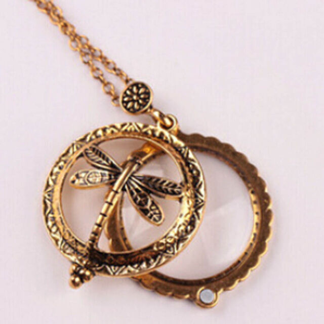 Women Vintage Gold Chain Magnifying Glass Dragonfly Design Pendant Necklace