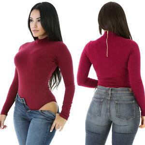 e88ffb86c8c Women s Red Solid Zip Turtleneck Long Sleeve Bodysuit Leotard ...