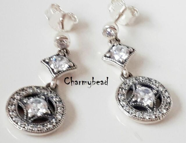 1ea1a32e4 NEW Genuine PANDORA Silver & CZ ❤Vintage Allure Drop❤ Earrings-290722CZ