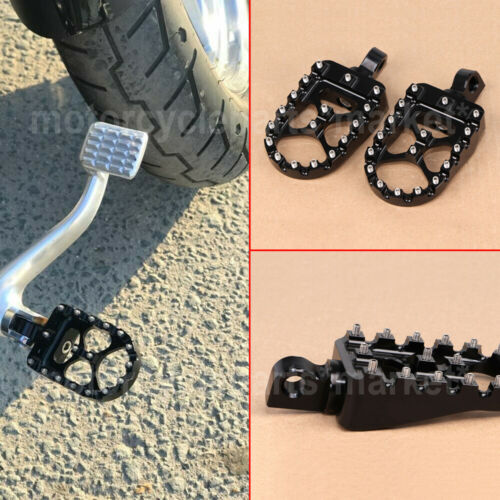 NEW FOR HARLEY DYNA SUPER GLIDE SPORTSTER BOBBER WIDE FAT FOOT PEGS MX STYLE