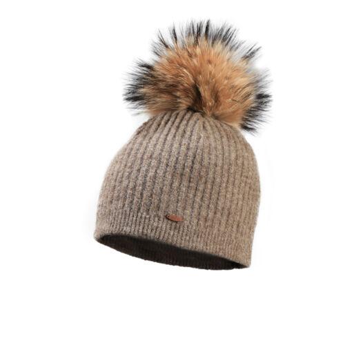 Starling Femi Beanie Faux Fur Bobble Hat Beige