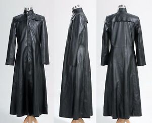 30cce49150b Details about Mens Neo Matrix Trench Coat Keanu Reeves Black Leather Trench  Coat Gothic Jacket