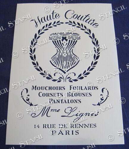 Corsé francés Stencil 4 tamaño HC Vintage Francés Chic muebles superior de Mylar de 250