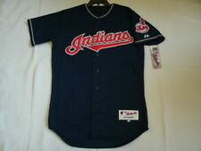 Authentic MAJESTIC SIZE 52 2XL-3XL, CLEVELAND INDIANS BLUE ON FIELD Jersey