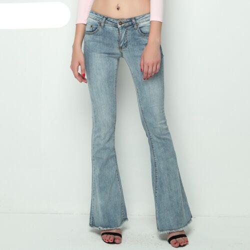 à taille jambe large Pantalon basse élastique Jeans femmes vintage Jeans Jeans FPwxRqU