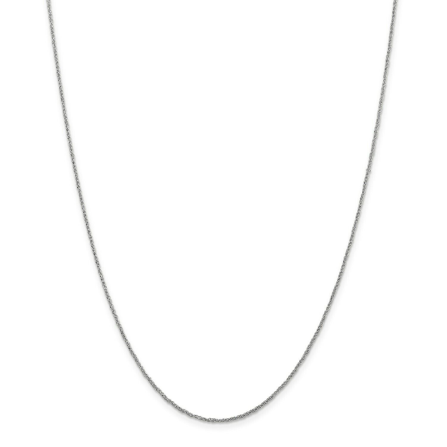 14k White gold 1.1mm Solid Polished Ropa Chain w  Spring Ring Clasp 14  - 24