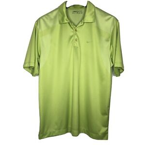Nike-Golf-Mens-DriFit-Polo-Shirt-Lime-Green-Short-Sleeve-Polyester-Size-Large
